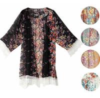 Wholesale kimono online - Women Summer Blouse Printed Chiffon Shawl Kimono Casual Cardigan Cover Up Tops Lace Tassel Flower Blouse KKA3435