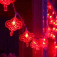 lanternes à cordes rouges achat en gros de-1X 5m 20 a mené les chaînes de lumière de festival de noeud chinois, le jardin de fête de Noël décoré de la lanterne rouge a mené la fée ficelle colorée de lumières