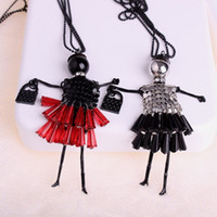 Wholesale Girls Sequin Dance Dresses - New Crystal Sequins Dance Dolls Necklace Mini Dress Girl Figures Pendant Long Chain Necklace Fashion Jewelry for Women Kids Drop Shipping
