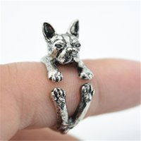 Wholesale Hippie Rings - Wedding Rings Ruby Jewelry 1 Pcs Free Shipping Retro America Boston Terrier Ring Free Size Hippie Bull Dog Jewelry For Pet Lover