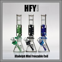 Wholesale Free Gifts Tube - Illadelph Freezable Coil Tube 7MM beaker bongs glass water pipes concentrate pipe bubbler hookahs smoking heady free shipping