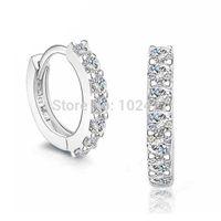 Wholesale Wholesale Diamond Hoop Earrings - Best Gift Silver Simulated Diamond Hoop Earrings Silver Earrings for Women 2014 New Women Wedding Jewelry
