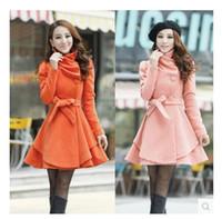 Wholesale Women Trench Coat Korean - Autumn Winter Long Coat Korean Single Breasted Scarf Collar Slim Trench Overcoats WCB0021
