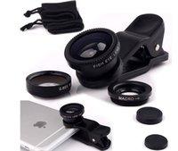 Wholesale Macro Sets - universal 3 In1 Fish eye lens Macro Wide Angle Mobile Phone Camera Lens Clip Set