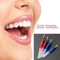 Wholesale Dental Sticks Pens - 50pcs Floss Sticks Tooth Flossing Head Hygiene Dental Plastic Interdental Brush Toothpick