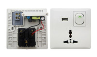 Wholesale Hk Post Free Shipping - Free Shipping HK Post USB Wall Power Supply Socket Switch White With USB Interface White Color