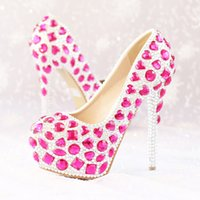 Wholesale Womens Rhinestones Platform - Pink Crystal Wedding Shoes Womens Modeling Event High Heel Luxury Rhinestone Bridal Dress Shoes Platform Party Prom Shoes