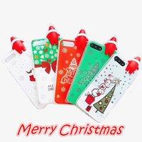 Wholesale Iphone Santa Case 3d - Christmas Style Phone Cases with 3D Santa Claus PaPa Luminous Soft Phone Cover For iphone X 8 7 6 6S Plus