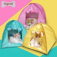 Wholesale mixed colors per Doglemi Cute Polka dots Foldable Pet Cat Kitty Tent House Camp Water Resistant colors