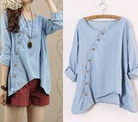 Wholesale Denim Retro Top - Japanese Mori Girl Retro Vintage Tops Women Pockets Casual Ladies Long Shirts Women Irregular Half Sleeve Washed Denim Shirts