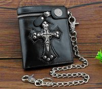 schwarze brieftaschenschädel großhandel-Brieftasche mit New Rock Punk Skulls Cross Money Herren schwarz Leder Geldbörse mit einer Kette Cool