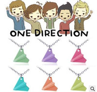 Wholesale One Direction Paper Plane - One Direction Paper Plane Necklace 6colors Mix 24PCS Free Shipping 0423B3