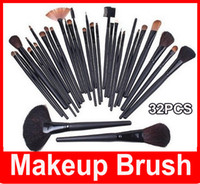 Wholesale 32 pc professional makeup brush set for sale - Group buy M Cosmetic Facial Make up Brush Kit Professional Wool Makeup Brushes Tools Set with Black pu Leather Case