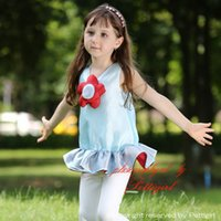 leggings con volantes para las niñas al por mayor-Pettigirl Summer Girls Conjuntos de ropa 3D Flower Girls Ruffle Top y leggings Moda para niños CS80630-8