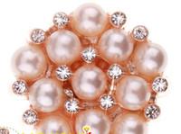 Wholesale Wholesale Rhinestone Jewelry Components - Pearl Crystal Rhinestone Button DIY Jewelry Components 120pcs Lot Free Shipping 0529B3