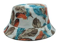 Wholesale Male Bucket Hats - Colors feather Bucket hat fit for male female plume FISHER CAP fashion indumentum summer hats Freeshipping !