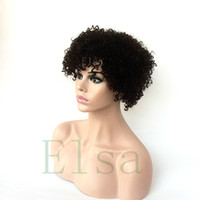 Wholesale 8inch kinky curly hair for sale - Group buy Human Hair Wigs Malayslian Afro Kinky Curly Lace Front Wigs With Baby Hair inch Black Color None Lace Wig For Black Wome