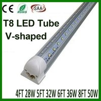 V-förmig T8 LED Tube Lights 4FT 28W 5FT 32W 6FT 36W 8FT 50W 2,4m Integrated Cooler Tür LED-Leuchtstoffdoppel Glow-Beleuchtung
