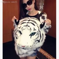 Wholesale Tiger Designed Backpacks - Wholesale-2015 new cool luxury tiger head bags new personality design men women lion head backpack popular knapsack free shipping X06884