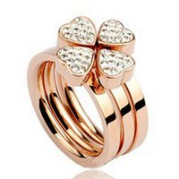 Wholesale Auger Ring - Titanium steel jewelry Three type joining together Four flower Set auger titanium steel rose gold ring size 6,7,8,9 Couples ring