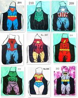 Wholesale Sexy Naked Men - 50pcs HOT sale Sexy Men Women Apron superhero Apron spiderman avengers Batman Kitchen Cooking Chef Novelty Funny Naked BBQ Party D477