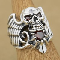 Wholesale Skull Wings Rings - 925 Sterling Silver Devil Wing Skull Red CZ Stone Mens Biker Ring 9M013 US Size 8~14 Free Shipping