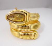 bayanlar altın kol saatleri toptan satış-Toptan Satış - Toptan-2 renk lüks Yüksek Kalite Goldensilvery Paslanmaz Çelik Yılan Bilezik İzle Kadınlar bayanlar Kuvars Kol Saati GUS-1 elbise