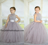Wholesale Girls Pageant Dress Free Shipping - Free Shipping 2015 Cheap Ball Gown Flower Girl Dresses for Wedding Gray Tulle Puffy Halter Sash Floor Length Little Girl Pageant Dresses