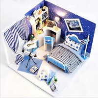 Großhandel-Wooden Dollhouse Möbel Licht Kit Miniatur Star Sky Dream Zimmer DIY Puppen Haus Handwerk Geburtstagsgeschenk Puzzle Spielzeug Weihnachtsgeschenk