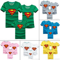 no brand black and white superman shirt - Mother and daughter clothes Superman T shirts Summer style family matching outfits short sleeved father and son t shirt cheap HX