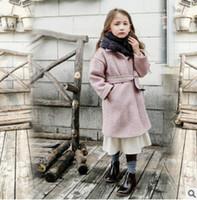 Wholesale Windbreaker Button Down - Children woolen trench coat Enland style kids lapel single breasted outwear fashion new big girls Bows belt windbreaker R1400