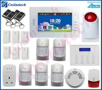 Wholesale Home Security Pstn Gsm - Customized Smart home security FSK 868MHZ GSM PSTN alarm system with smoke sensor,smart socket,LCD keyboard,strobe siren