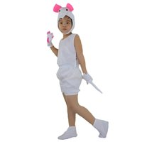 2018 Fashion Kids Short White Mouse Animal Costume Stage Perfromance Cosplay Abiti Halloween Birthday Fancy Dress Decorazione