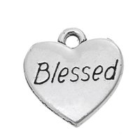Wholesale Blessing Word Charm - Fitness Zinc Alloy Antique Silver Plated Word Bless Heart DIY Finding Message Charm for jewelry making