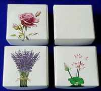 Wholesale Lavender Soaps - 100pcs lot Rose Lavender Printing Paper Gift Box Biscuits Handmade Soap Candy Packaging Box For Party Favor Package