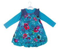 Wholesale Patterned Flower Girl Dresses - New Girl Dress Autumn Spring Long Sleeve Flower Dress Retro Pattern Blue Color 5 P L