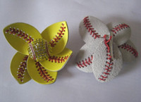 Wholesale clip hairbow online - 2018softballsunny yellow softball white baseball soccer football stitching really leather flowersl hair clips whosale retail hairbow