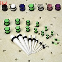 Wholesale Ear Taper Stretching Kit - 2016 New Hot 23 Pc Ear Taper+ PLUG Kit 1.6mm-10mm Gauges Expander Set Stretchers Body Jewelry Acrylic Ear Plug Stretching Piercing 9188