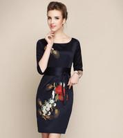 Wholesale Long Sleeved Cheongsam - Wholesale-new 2015 summer autumn women vintage upscale gown embroidered cheongsam long-sleeved party dress Plus size Dinner dress # 021