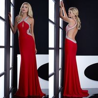 Wholesale Jasz Prom - New Backless 2015 Prom Dresses With Halter Crystal Beads Sheath A Line Long Chiffon Sexy Red Blue Jasz Couture Evening Pageant Party Gowns
