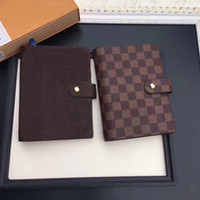 Wholesale Book Style Credit Card Wallet - 2017 Famous Brand Agenda Luxury Brand Note BOOK Cover Leather Diary Leather with dustbag and box card Note books Hot Sale Style Wallets