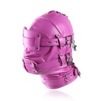 Wholesale face masks sex for sale - Group buy Erotic Sex BDSM Bondage Leather Hood for Adult Play Games Full Masks Fetish Face Blindfold for Couple Games