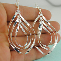 Wholesale Earrings Brands - 2015 HOT Brand Design Fashion Bohemian Statement Jewelry Big Size 925 Silver Plated Vintage Drop Earrings For Women 10pairs lot E1224