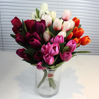 Wholesale Orange Artificial Tulips - Tulip Artificial Flowers Silk Tulip display flowers real touch non-polluting Simulation Wedding or Home office Decorative Flower st0102