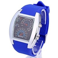 Wholesale Led Matrix Watches - Wholesale-Digital Led Watches Cool Car Meter Dial Unisex Blue Flash Dot Matrix LED Racing Watch With Gift Box