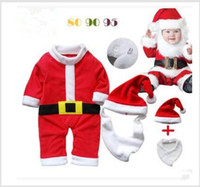 Wholesale Holiday Clothing For Boy - Girl Boy Romper Hat Bib 3Pcs Christmas Clothes Baby Cartoon Santa Claus Cosplay Body Suit Christmas Clothes For Children Free Shipping