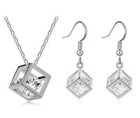 Wholesale Genuine Rubik Cube - Happiness Rubik Cube Jewelry Sets Genuine Fine 925 Silver Cubic Zirconia Pendant Necklace Hook Earrings Set With Chain