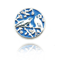 Newly Fashion 18mm Snap Buttons Blue Alloy Vintage Birds Fermoirs en métal Fit DIY Noosa Bracelets Accessoires Bijoux