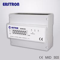 medidor de carril din al por mayor-Al por mayor-SDM530D trifásico de cuatro hilos Din Rail medidor de energía, KWH medidor de energía digital, con LCD Disply y pulso de salida, CE aprobado