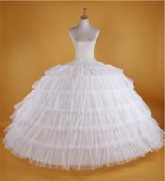 Wholesale Long Dress Petticoat - New Big White Petticoats Super Puffy Ball Gown Slip Underskirt 6 Hoops Long Crinoline For Adult Wedding Formal Dress